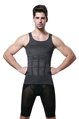 GKVK Mens Slimming Body Shaper Vest Shirt Abs Abdomen Slim,