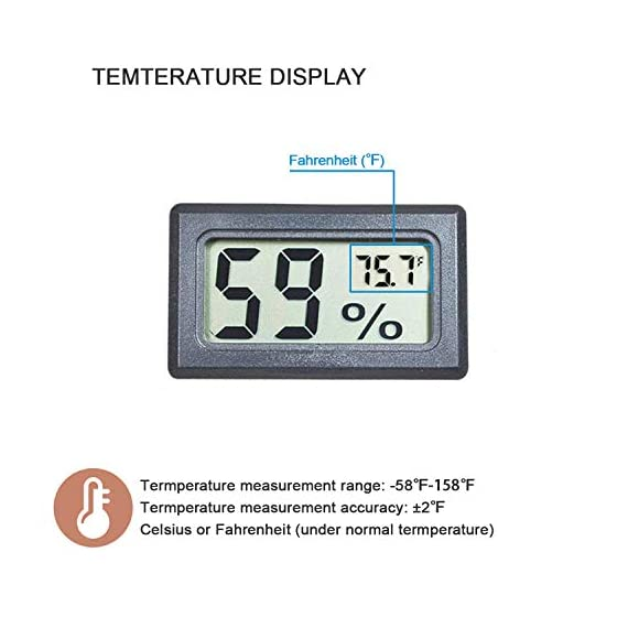 Veanic 4-pack mini digital electronic temperature humidity meters gauge indoor thermometer hygrometer lcd display fahrenheit (℉) for humidors, greenhouse, garden, cellar, fridge, closet 3 mini digital humidity thermometer allows you to easily know the temperature and humidity around you 2in1 meter with built-in probe; digital electronic thermometer and hygrometer for measuring temperature and humidity for indoor use fahrenheit (°f) display, this thermometer displays temperature in fahrenheit