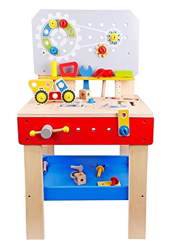 - Pidoko Kids Wooden Workbench with Tools and Accessories - Pretend Toys Construction Tool and Work Bench - Playset for Boys & Girls