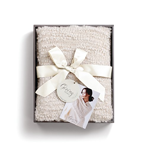 (Cream Women's One Size Soft Knit Nylon Giving Shawl Wrap in Gift Box)