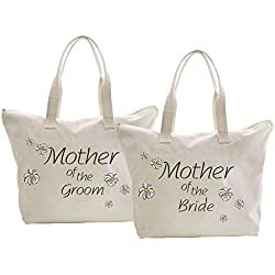 ElegantPark Mother of the Bride+Groom Tote Bag Daisy for Wedding Gifts Zip Cotton 2 Pcs