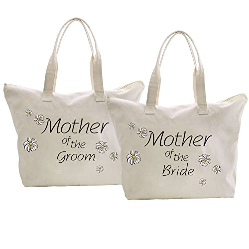 (ElegantPark Mother of the Bride+Groom Tote Bag Daisy for Wedding Gifts Zip Cotton 2 Pcs )