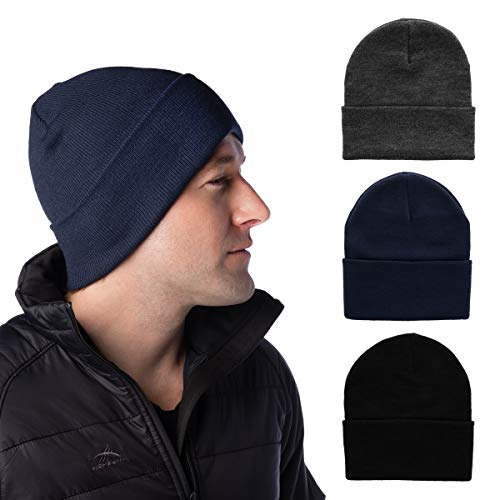 DG Hill Set of 3 Mens Warm Winter Hats, Navy Blue, Slate Gray & Black Beanie Hats, Pack of Soft Acrylic Caps, Cuff Beanie Hat for Men, Cold Weather Toboggans, Thermal Work Hat