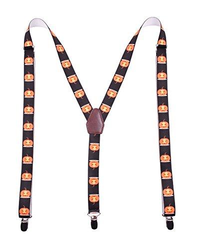 PZLE Men's Halloween Suspender Adjustable Y Back Orange Pumpkin