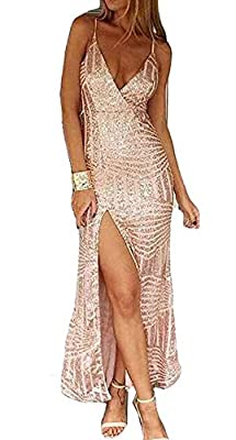 Missord Women's Sleeveless V Neck Sequined Maxi Prom Dress with Side Split