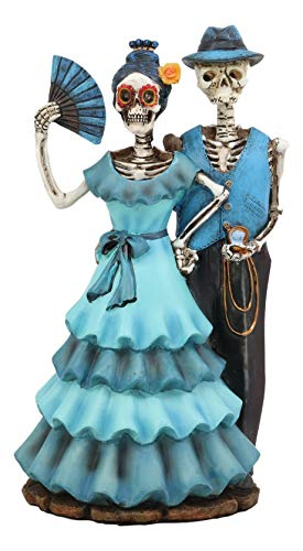 Ebros Love Never Dies Wedding Bride with Fan and Groom Skeleton Couple in Blue Outfits Figurine 7