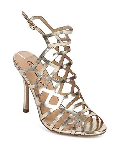 Breckelle's ED31 Women Metallic Peep Toe Hollow Out Slingback Mule Stiletto Sandal - Champagne (Size: 9.0) (4 Inch Stiletto Heel Slingback Sandal)