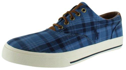 Polo Ralph Lauren Manar Vaughn Nödställda Läder Sneaker Blå Pläd
