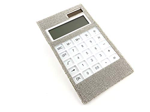Swarovski Crystal Desk Accessories - Blingustyle Design Silver Swarovski Elements Crystal Slim Bling Diamante 12 Digits Calculator for Home or Office and Gift with Gift Box