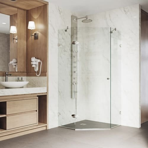 "VIGO VG6061BNCL42 Verona 42"" x 42"" inch Clear Glass Corner Frameless Neo-Angle Shower Enclosure, Hinged Shower Door with Magnalock Technology, 304 Stainless-Steel Shower Hardware in Brushed Nickel Finish -"