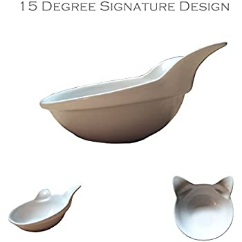2 Ceramic Kitty Bowls from ViviPet (Pearl White Kitty Bowls)