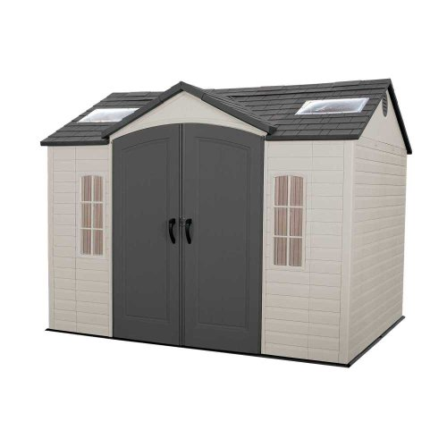 Lifetime 60005 Outdoor Storage Shed with Windows, Skylights and Shelving, 10 x 8-Feet
