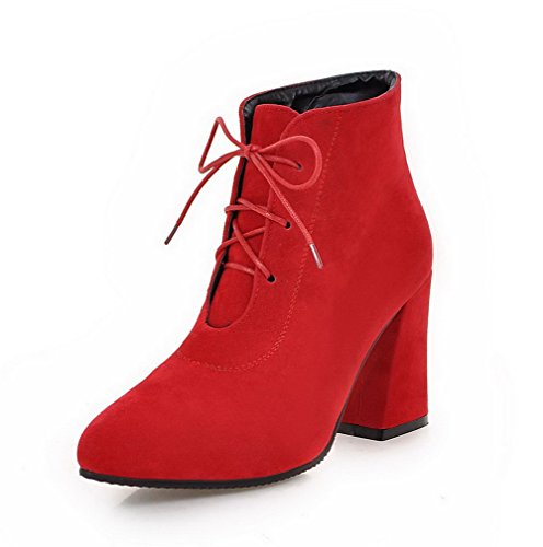 AgooLar Women's Imitated Suede Low-Top Solid Lace-up High-Heels Boots Red