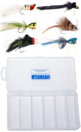 Top Water Bass & Pike Fly Assortment - 6 Flies + Fly (Pike Popper)