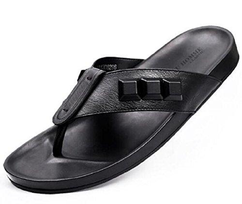 Happyshop(TM) Men's Leather Flip-Flops Sandals Cool Beach Slipper Open-toed Shoes (US 9.5, Black)