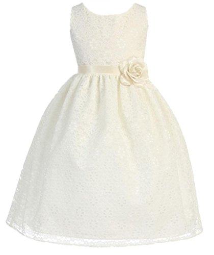 AkiDress Lovely Sleeveless Floral Lace Flower Girl Dress for Little Girl Ivory 4