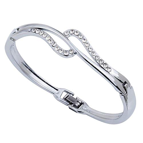 DVANIS Bangle Plated Silver Full Crystal Bangle Bracelet in Jewelry Diameter:2.2In by DVANIS