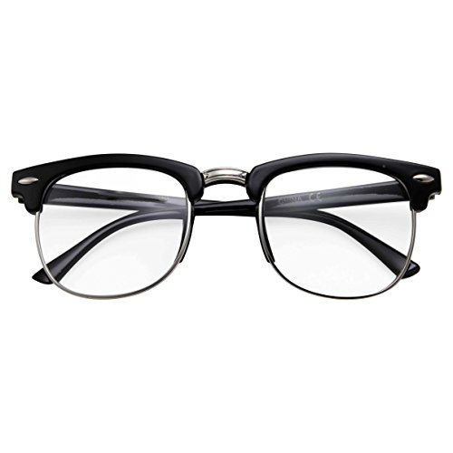 Kids Nerd Glasses Half Frame Clear Lens Geek Costume Black and Silver