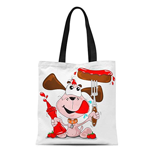 Semtomn Cotton Canvas Tote Bag Brown Cartoon Dog Sausage and Tomato Ketchup Sauce Bottle Reusable Shoulder Grocery Shopping Bags Handbag Printed