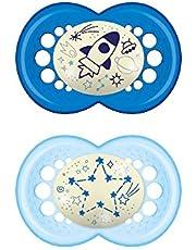 MAM Originele Night Astro, set met 2 fopspenen gemaakt van siliconen, blauw, 16 maanden