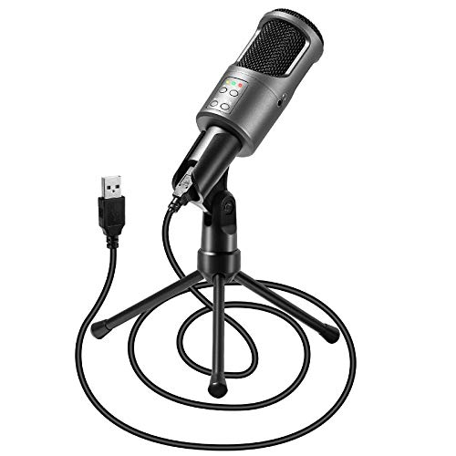 USB Gaming Microphone for Computer,PC Podcast Microphone with Monitoring 3.5mm Jack,Volume Control and Tripod for Gaming, Podcast, Streaming, YouTube Recording, Karaoke-Windows/Mac/Linux 2020 Version