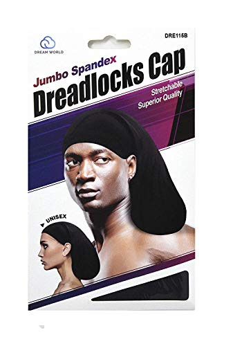 Dream Superior Quality Jumbo Spandex Dreadlock Cap #115B Black -
