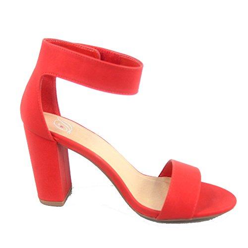 Läcker Elton-s Womens Fashion Öppen Tå Ankelbandet Chunky Klackar Sandaler Skor Röd