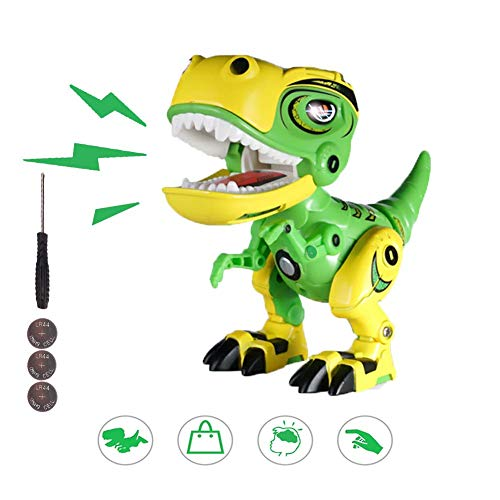 Interactive Dinosaur Toy for Kids, Alloy Dinosaur Electronic Pet Robot Sound and Light, Dinosaur Fans Collection Theme Birthday Party Boy and Girl Gifts (Green)