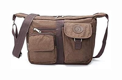 PROGLEAM Storage Bag, Men Women Casual Nylon Shoulder Handbag Travel Messenger Crossbody Tote, Coffee