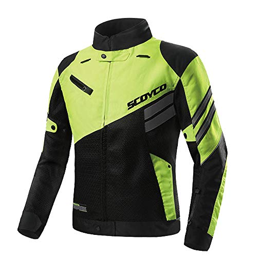 SCOYCO Ventilate Motor-racing Shockproof Reflective Inner Reinforced Off-Road Protective Motorcycle Jacket (GREEN,L)