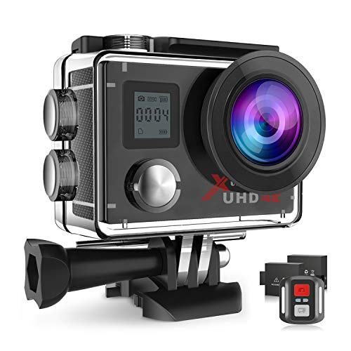 Campark Action Camera 4K WiFi Ultra HD Sports Cam Underwater Waterproof 30M 170°Wide-Angle Lens with Remote Control 2 Recharge Batteries and Mounting Accessories Kit (ACT76)