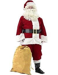 Men's Deluxe Santa Suit 10pc. Christmas Velvet Adult Santa Claus Costume
