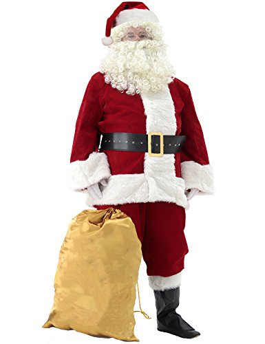(Svansea Men's Deluxe Santa Suit 10pc. Christmas Ultra Velvet Adult Santa Claus Costume Red)