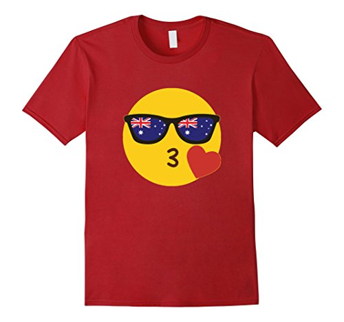 Men's Australian T-Shirt Emoji Aussie Flag Sunglasses Funny Tee Large - Australian Glasses