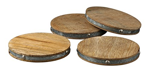 Thirstystone Industrial Luxe Coasters Drink Coasters with Galvanized Iron Band, Mango Wood