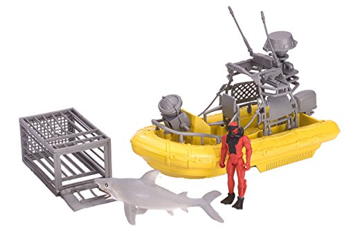 Wild Republic E-Team X Shark Set Playset, Action Figure, Shark, Boat, Diving Cage, Gifts for Kids, 4-Piece Set 15394