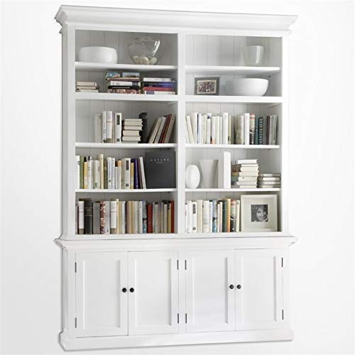 (NovaSolo Halifax Pure White Mahogany Wood Double Hutch With 10 Shelves And Storage)