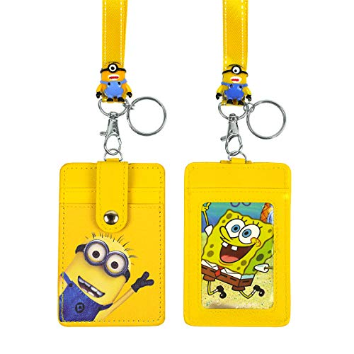 it Card Case ID Badge Holder Lanyard with Cartoon Shield Keychain for Students Teens Boys Girls Officer,Minions ()