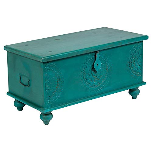 Mina Handcarved Medallion Storage Trunk/Coffee Table - Teal Blue