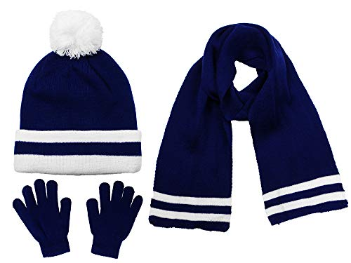 Polar Wear Boys Knit Hat, Scarf And Gloves Set- Navy