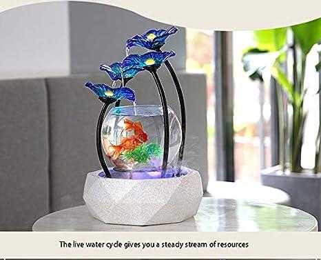 LSHUAIDJ Acuario Creativo hogar Fuente de Agua decoración Sala de Estar Oficina Interior decoración de Vidrio pecera Feng Shui humidificador Suerte: ...