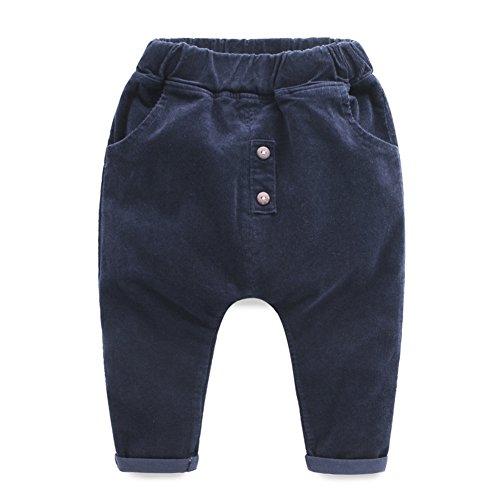 Navy Corduroy Trousers - 2
