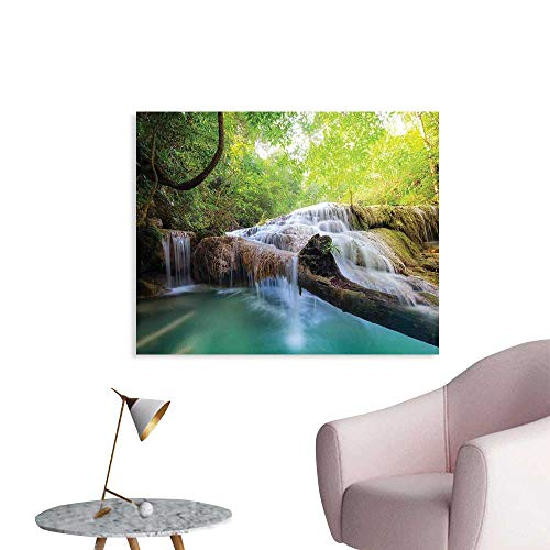 (J Chief Sky Waterfall Wallpaper Sticker Landscape with Flowing Water of Erawan Cascade in Rain Forest Personalized Wall Decals W36 xL32)