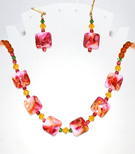 Goldtone Pink Lampwork Jewelry Set Handmade Necklace and Dangle Earrings with Crystals (Beaded Lampwork Jewelry Set)
