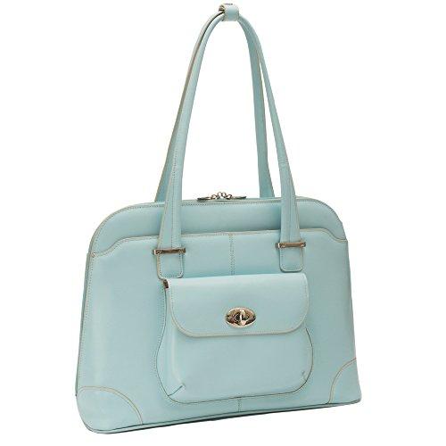 Women's Briefcase Tote, Leather, Small, Aqua Blue - AVON | McKlein - 96658