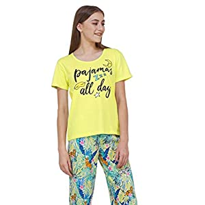 Artemis Women's Cotton Animal/Butterfly Print Pajama Set