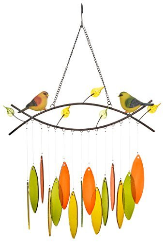 SpringHut Wind Chimes Unique Spring Themed Rustic Design with Colorful Stained Glass Leaves 22quot Long Made for Both Indoor and Outdoor Great Decor for Your Patio and Garden