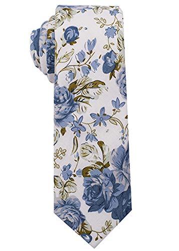 Kebs Basic Mens Cotton Skinny Necktie Thin Tie for Men Blue Flowers - White
