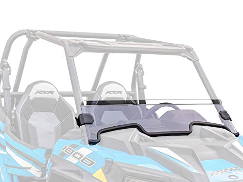 SuperATV Heavy Duty Clear Non-Scratch Resistant Half Windshield for Polaris RZR XP 1000/4 1000 (2019+) - 250X Stronger Than Glass - Installs in 5 Minutes! ()