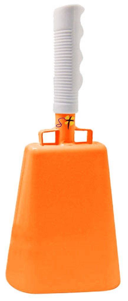 11.2 inch Tennessee Orange Bell White Handle Cowbell with Stick Grip Handle Used for Cheering at Sporting Events - Cow Bell by Stewart TradingTM